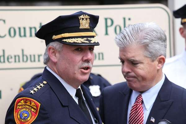 James Burke, then Suffolk County's police chief, with