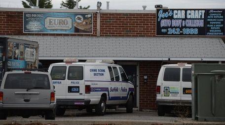 A Suffolk County Police Department crime scene van