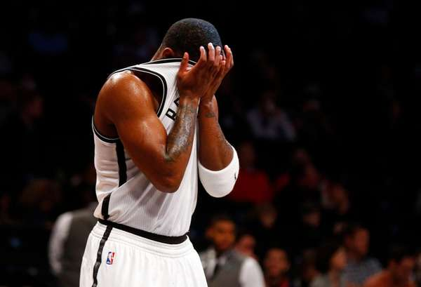 Joe Johnson #7 of the Brooklyn Nets reacts