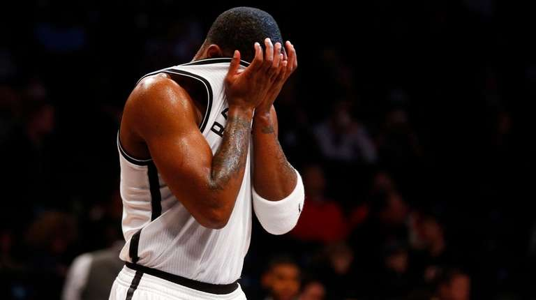 Joe Johnson #7 of the Brooklyn Nets reacts