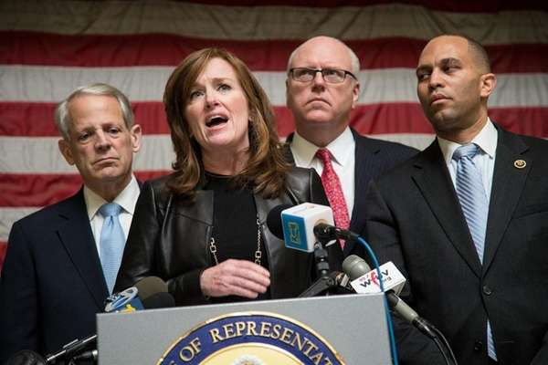 From left, Reps. Steve Israel (D-Huntington), Kathleen Rice