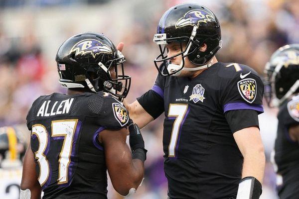 Ryan Mallett of the Baltimore Ravens congratulates Javorius