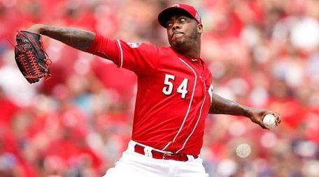 Aroldis Chapman of the Cincinnati Reds pitches in