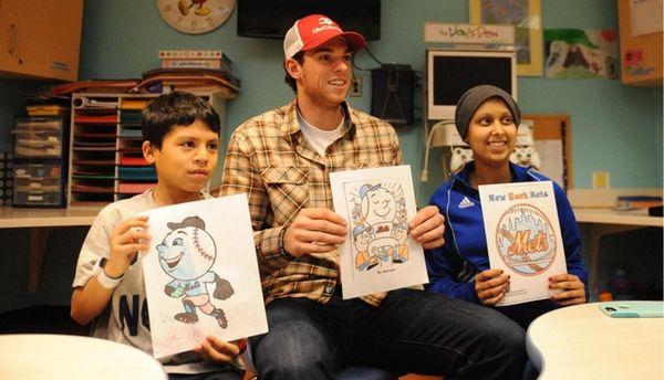 New York Mets pitcher Steven Matz, visits patients