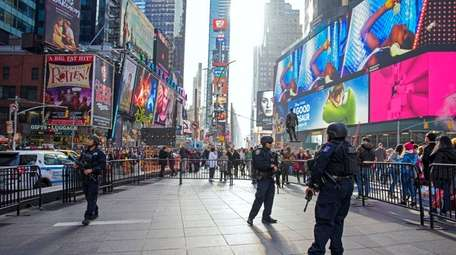 NYPD counterterrorism officers patrol Times Square on Nov.