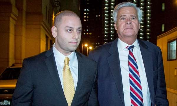 Former Sen. Dean Skelos, right, with his son,