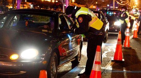 Nassau police set up a DWI checkpoint on