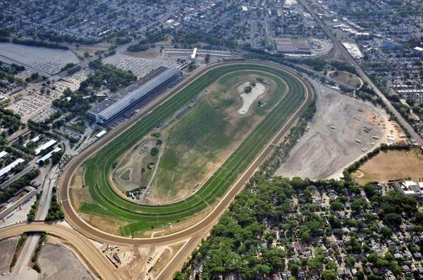 An aerial view of Belmont Park in Elmont