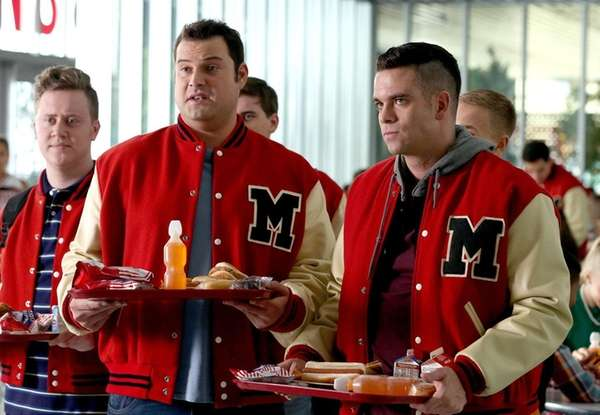 Actor Mark Salling, far right, appears in a