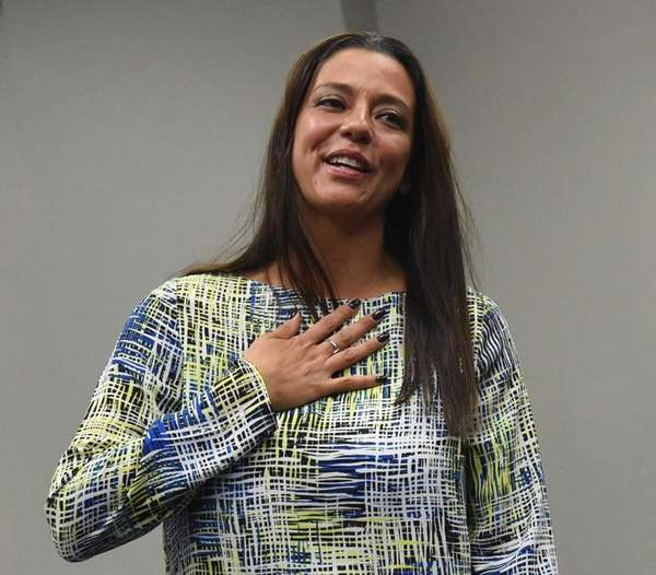 Legis. Monica Martinez celebrates being re-elected in Hauppauge