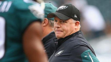 Philadelphia Eagles head coach Chip Kelly looks on