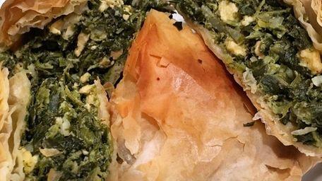 Spanakopita, a Greek pie wrapped in phyllo dough,