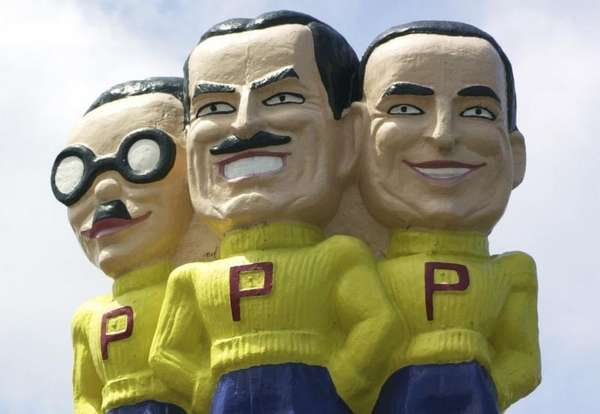 Pep Boys mascots Manny, Moe, and Jack above