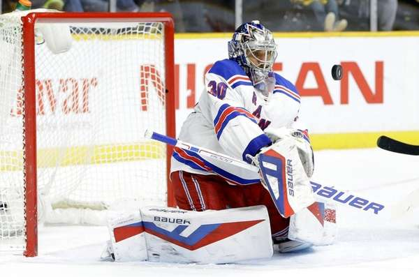 New York Rangers goalie Henrik Lundqvist (30) blocks