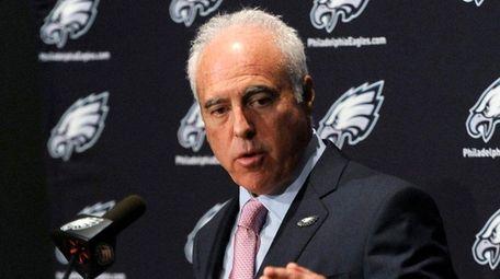 Philadelphia Eagles owner Jeffrey Lurie talks to reporters