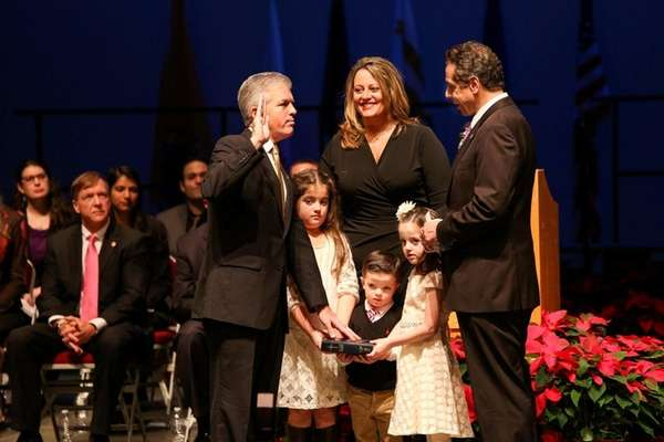 Suffolk County Executive Steve Bellone is sworn in