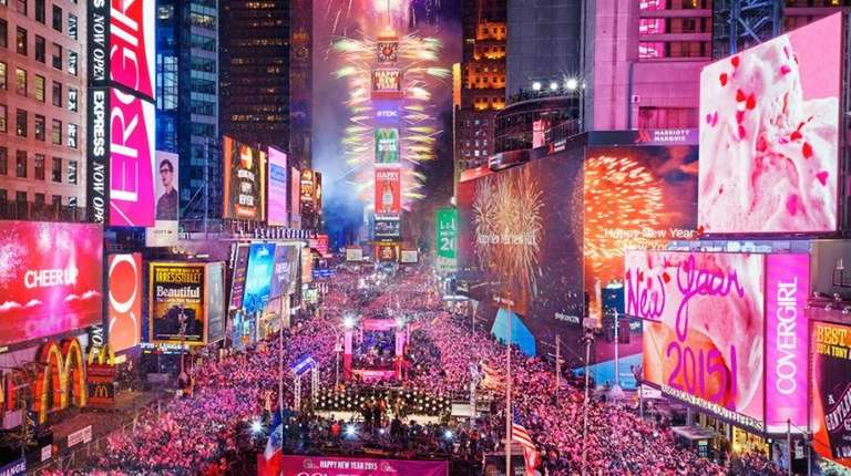 Times Square celebrates New Year's Day 2015.