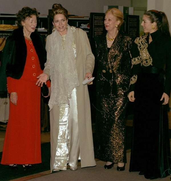 Queen Noor of Jordan, second from left, and