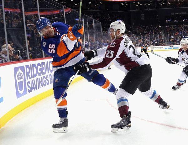 Johnny Boychuk of the New York Islanders shoots