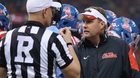 Head coach Hugh Freeze of the Mississippi Rebels