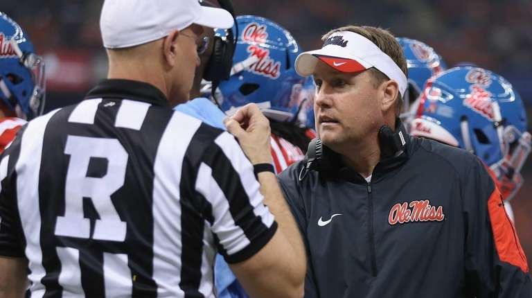 Head coach Hugh Freeze of the Mississippi Rebels