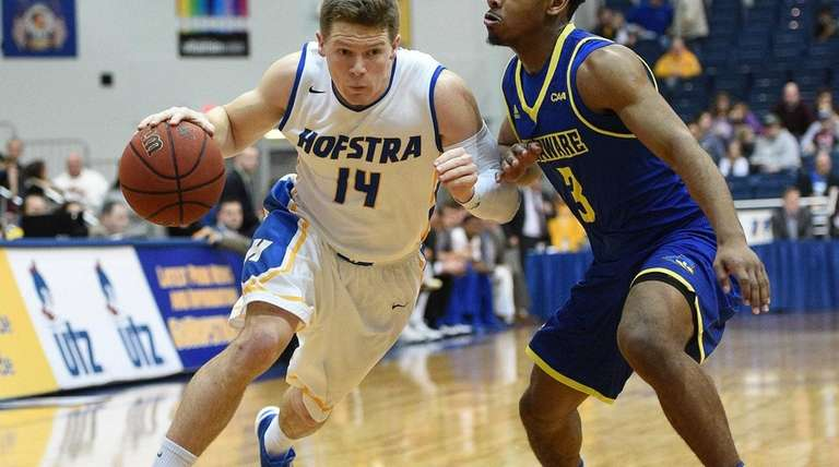 Hofstra Pride guard Brian Bernardi drives the
