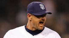 San Diego Padres closer Trevor Hoffman pumps his