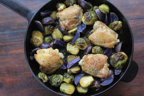 This Lemon Chicken, Brussels Sprouts and Potatoes Skillet