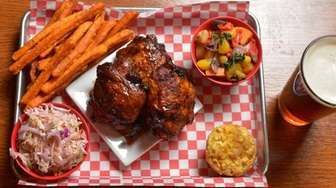 Smoked fried chicken with Carolina coleslaw, sweet potato