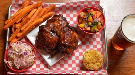 Smoked fried chicken with Carolina coleslaw, sweet potato