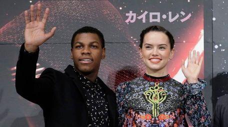 English actors John Boyega and Daisy Ridley attend