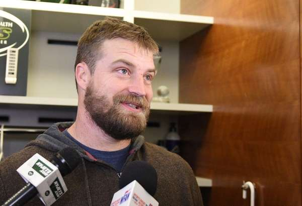 Quarterback Ryan Fitzpatrick speaks to the media during