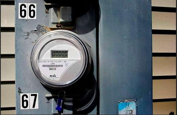 A new PSEG smart meter is seen at