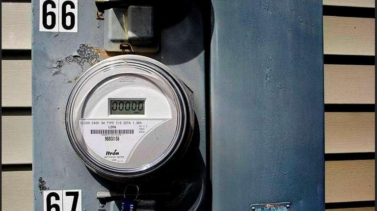 A new PSEG smart meter is seen at