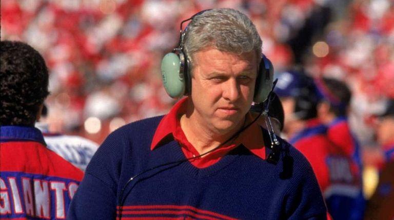New York Giants coach Bill Parcells walks on