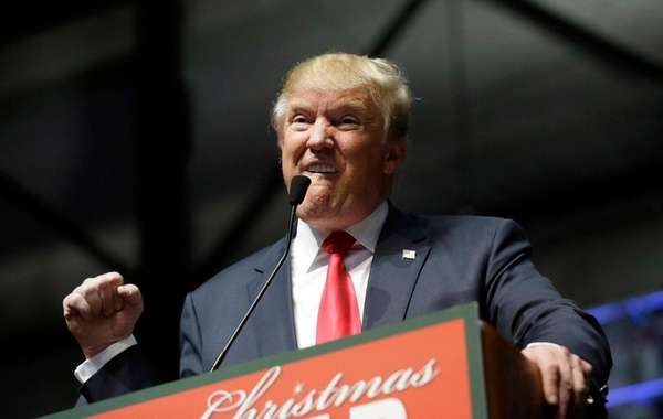 Republican presidential candidate Donald Trump addresses supporters at
