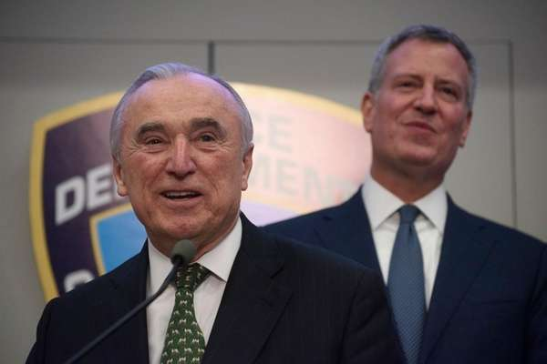 NYPD Commissioner William Bratton, left, and New York
