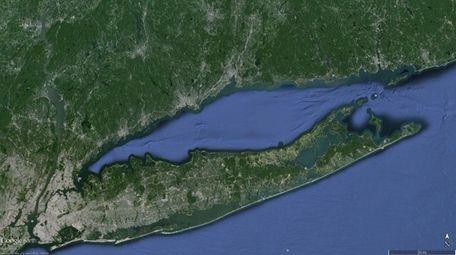 Google Earth image showing Long Island Sound.