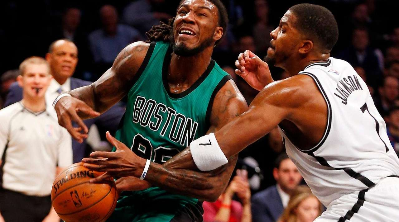 Joe Johnson slaps ball away, but fouls Jae