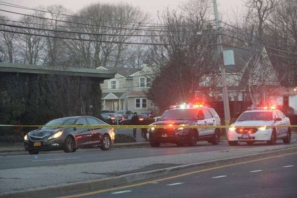 Police appear on the scene where a pedestrian