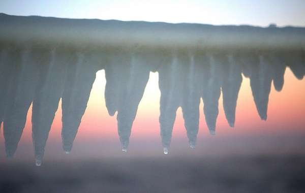 Ice forms at Robert Moses State Park Tuesday