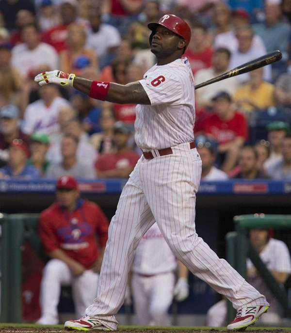 Philadelphia Phillies' Ryan Howard follows through on a