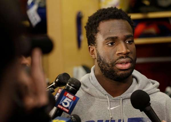 The New York Giants' Prince Amukamara talks to
