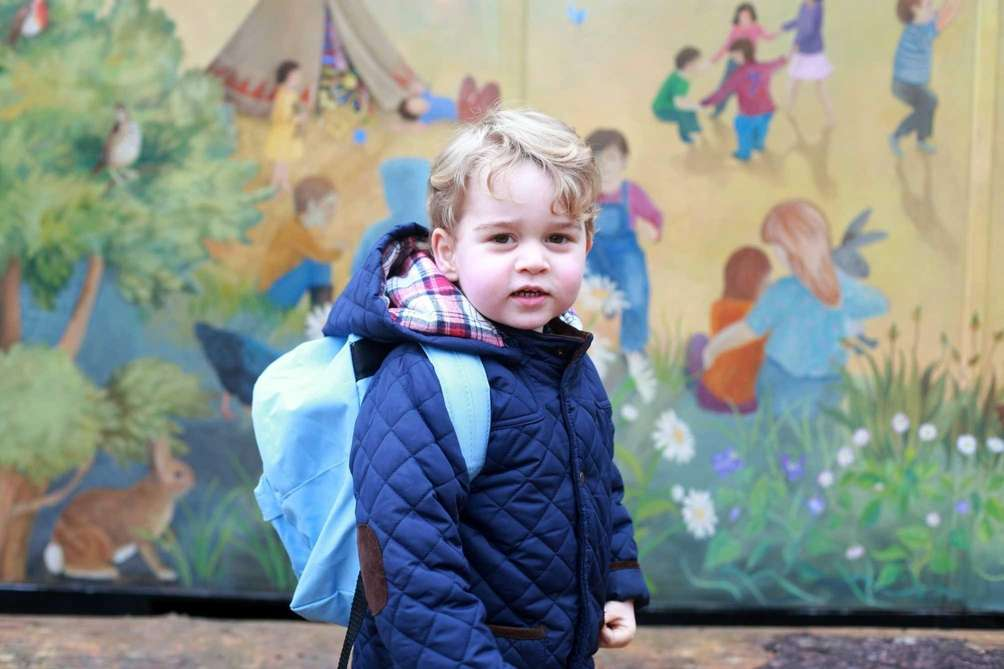Britain's Prince George on his first day at