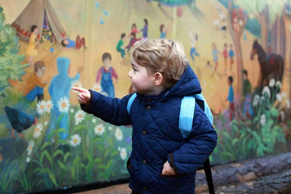 Britain's Prince George of Cambridge on his first
