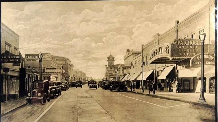 A historical photo of Patchogue Village, on Main