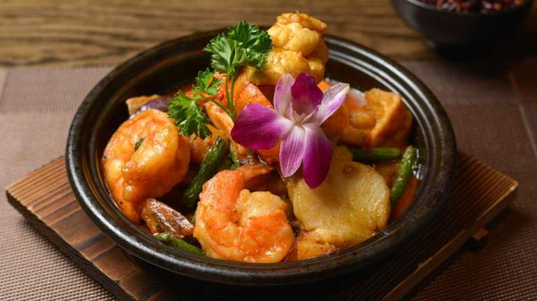 The Thai red curry casserole with seafood is