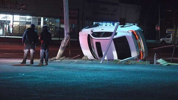Suffolk County police on scene of overturned vehicle