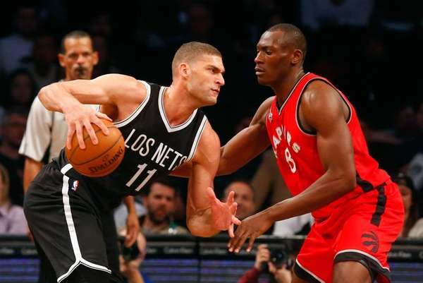 Brook Lopez of the Brooklyn Nets looks to
