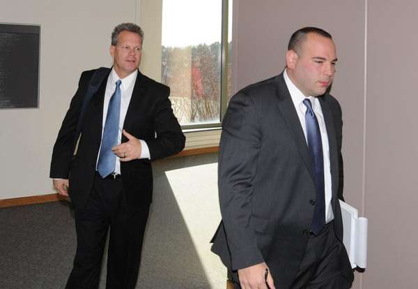 Former Suffolk County police Sgt. Scott Greene, left,